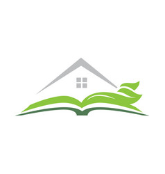 Open book with house and green leaves vector