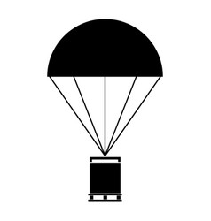 parachute with cargo the black color icon vector image