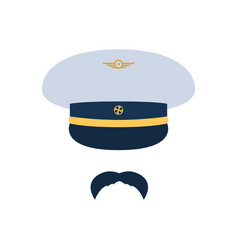 pilot aviator pilot hat and mustache vector image