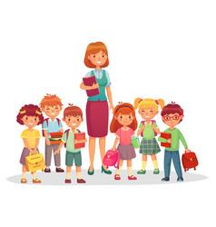 Primary school kids with smiling teacher children vector