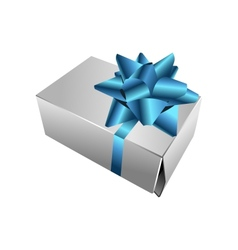 realistic gift box with bow vector image