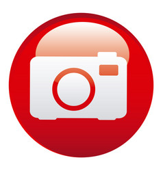 red camera emblem icon vector image