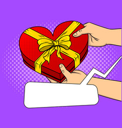 red heart shaped gift box pop art vector image