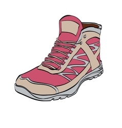 Red Hiking sneakers shoes vector