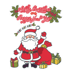 santa claus with gifts and bag vector image