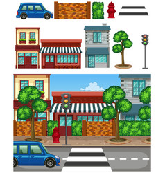 Set city town element vector