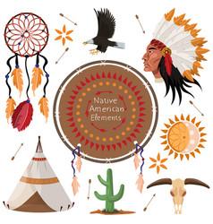 Set native american elements image vector