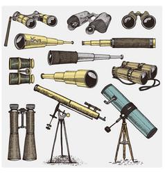 Set of astronomical instruments telescopes vector