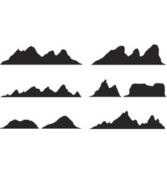 Set of black and white mountain silhouettes vector