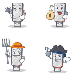 Set of flashdisk character with doctor money bag vector