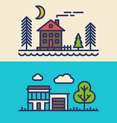 Set of Flat Style Line Art for Countryside Houses vector image