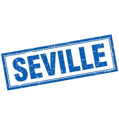 Seville blue square grunge stamp on white vector
