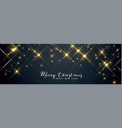 shiny sparkles merry christmas banner design vector image