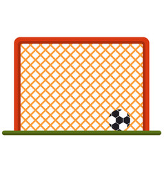 Soccer ball at football gate isolated on vector