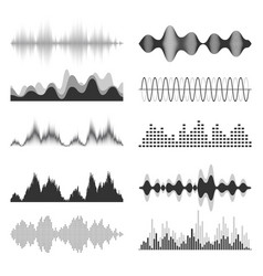 sound waves collection analog and digital audio vector image