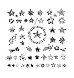 Star icons and pictograph collection black vector
