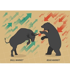 Stock market concept bull vs bear vector image