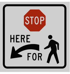 stop for pedestrian sign left arrow traffic vector image