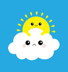 sun holding cloud yellow and white set smiling vector image
