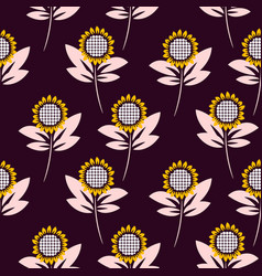 sunflower seamless pattern background vector image
