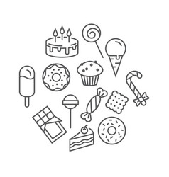 sweets icons set isolated on a white background vector image