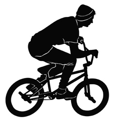 Teenager riding a bmx bicycle in bw vector