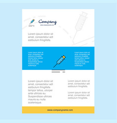 template layout for injection comany profile vector image