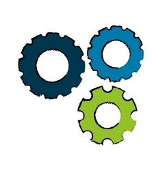 Three gears icon image vector