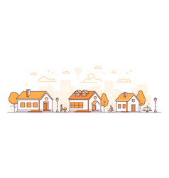 town landscape - modern thin line design style vector image