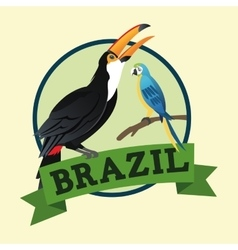 Tuncan and parrot cartoon of brazil design vector