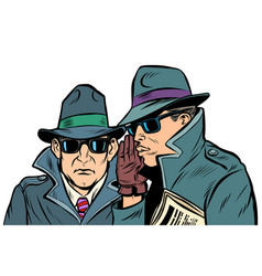 Two secret agents whispering vector