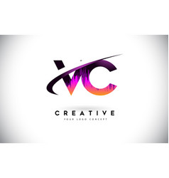 Vc v c grunge letter logo with purple vibrant vector