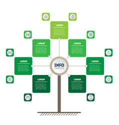 vertical green timeline infographics tree of vector image