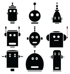 Vinatge robots heads vector