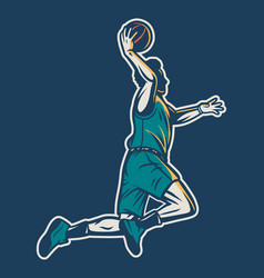 Vintage retro player jump and do dunk with one vector