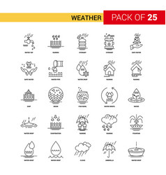 Weather black line icon - 25 business outline vector