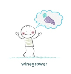 Winegrower thinks of grapes vector