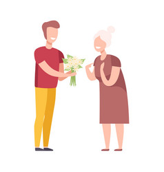 young man giving bouquet flowers to elderly vector image