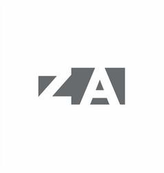 Za logo monogram with negative space style design vector