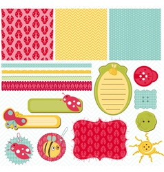 design elements for baby scrapbook vector image