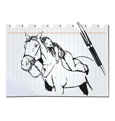 Woman and horse vector image