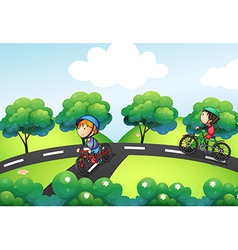 A road intersecting at the hill vector image vector image