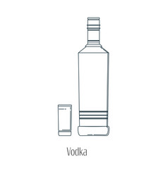 alcoholic drinks in bottles and vector image