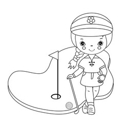 black and white little girl golfer vector image