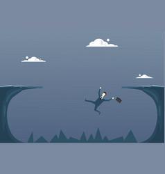 Business man falling in cliff gap businessman fail vector