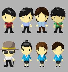 Character People Cartoon Cute Set vector image