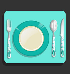 Empty plate and fork knife spoon vector image