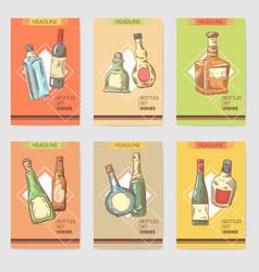hand drawn bottles alcoholic menu design wine vector image vector image