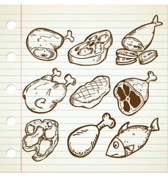 meat doodle set vector image vector image