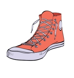 Red sneakers youth shoes vector image